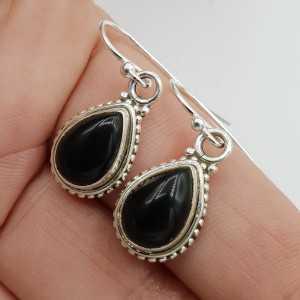 925 Sterling zilveren oorbellen zwarte Onyx