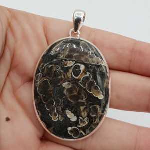 925 Sterling zilveren hanger ovale Turitella Agaat