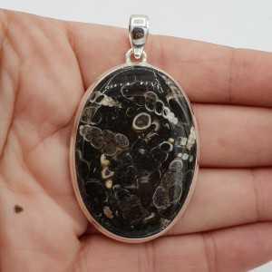 925 Sterling zilveren hanger met ovale Turitella Agaat