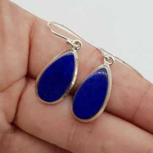 925 Sterling zilveren oorbellen smalle druppelvormige Lapis Lazuli