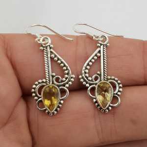 925 Sterling zilveren oorbellen met Citrien