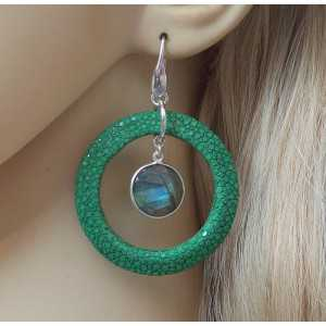 Silver earrings with round Labradorite and green Roggenleer