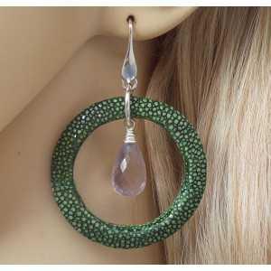 Ohrringe Silber pink Amethyst briolet und grün Roggenleer