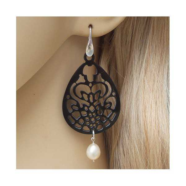 Silver earrings black carved buffalo horn and Pearl