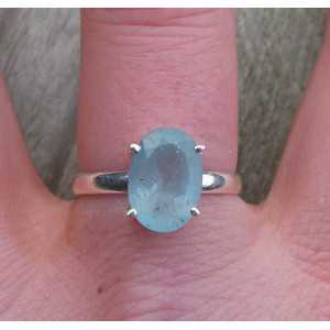 Silver ring set with oval facet Aquamarine 19 mm