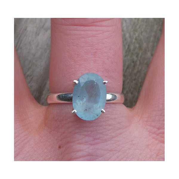 Silber ring set mit ovaler Facette Aquamarin 19 mm