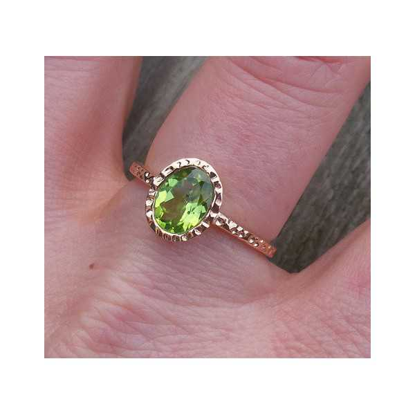 Gold-plated ring set with oval Peridot 18 mm