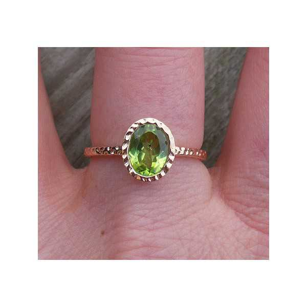 Gold-plated ring set with oval Peridot 17.3 mm