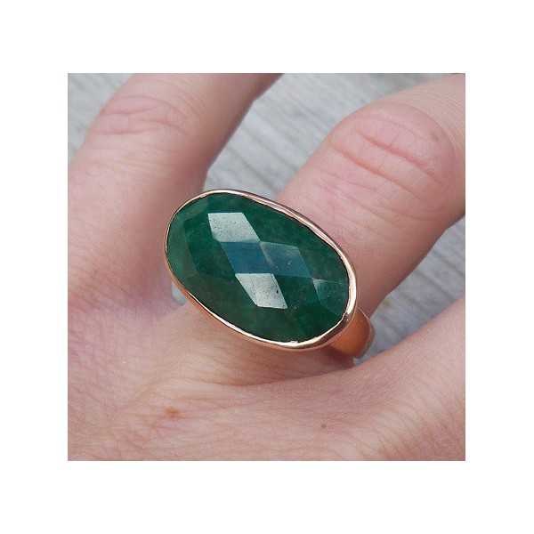 Gold plated ring with traverse oval Emerald 17.3 mm