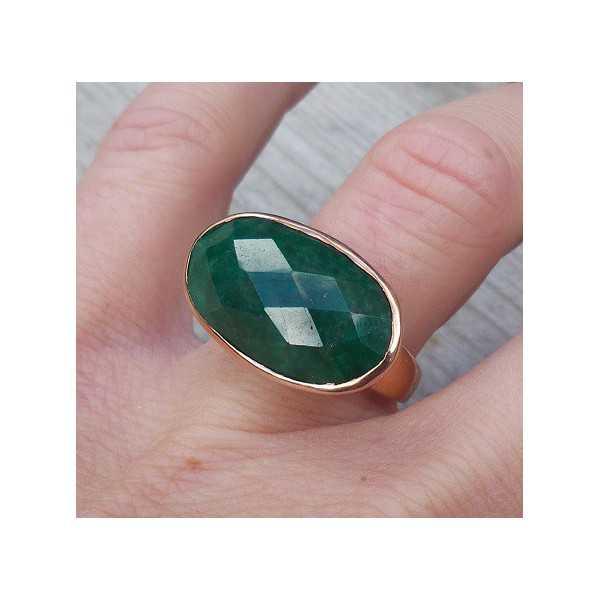 Vergoldet ring mit traverse ovalen Smaragd-17.3 mm
