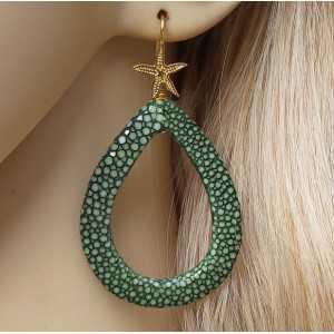 Vergoldete Ohrringe mit offenem Tropfen grün Roggenleer