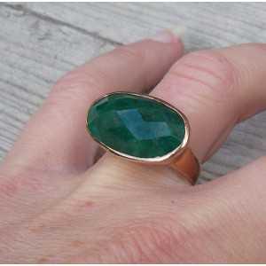 Vergulde ring met dwarsliggende ovale Emerald 17.3 mm