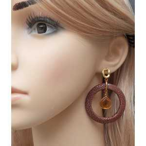 Gold plated earrings with Citrine and brown Roggenleer