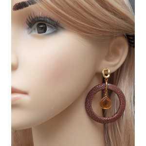 Vergulde oorbellen met Citrien en bruin Roggenleer