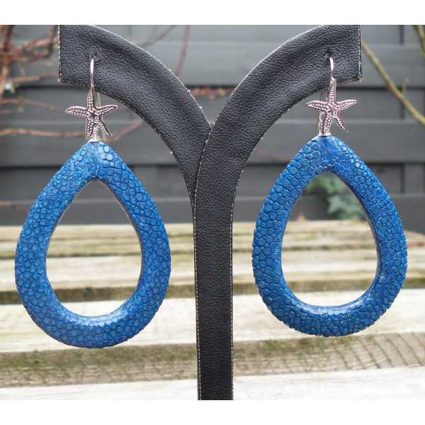 Silver earrings with open drop of blue Roggenleer