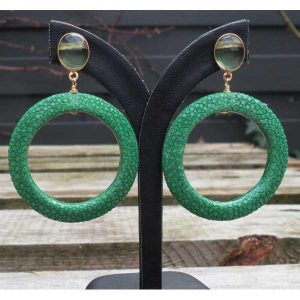 Vergoldete Ohrringe mit grünem Amethyst und ring grün Roggenleer