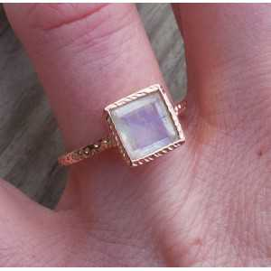Gold-plated ring set with square faceted Moonstone 17.3 mm