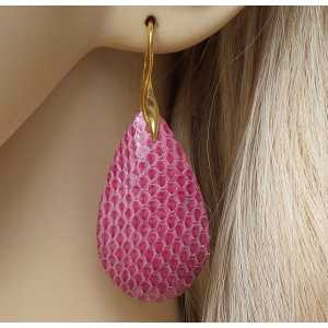 Gold plated earrings with drop of pink Snakeskin
