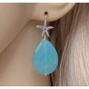 Silber Ohrringe mit Amazonit briolet