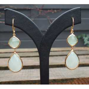 Gold plated earrings set with faceted Aventurine