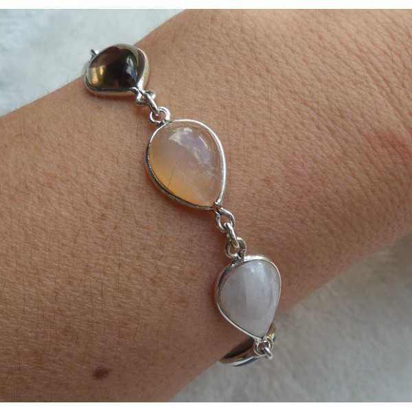 Silver bracelet with peach, rainbow Moonstone and Smokey Topaz