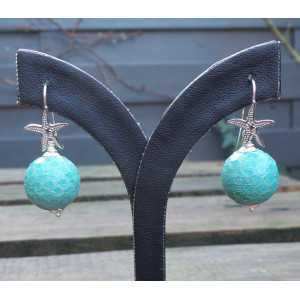 Silver earrings with sphere of turquoise Snakeskin