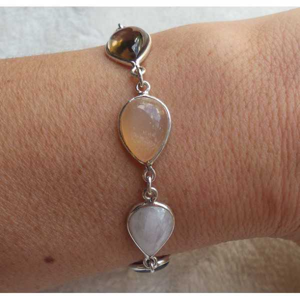 Silver bracelet set with peach and rainbow Moonstone and Smokey