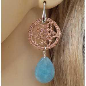 Silber Ohrringe ring und silk thread und Amazonit briolet
