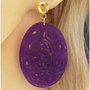 Vergulde oorbellen met grote ovale uitgesneden paarse Jade
