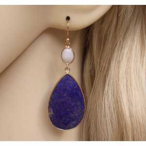 Gold plated earrings set with Ethiopian Opal and Lapis Lazuli