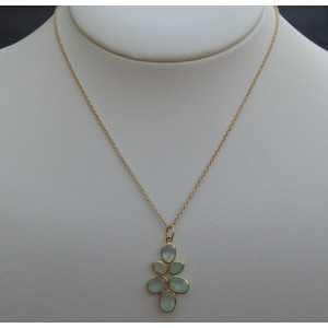 Vergoldete Halskette mit Anhänger-set mit facettierten aqua Chalcedon