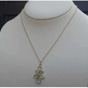 Gold plated necklace with pendant set with faceted aqua Chalcedony