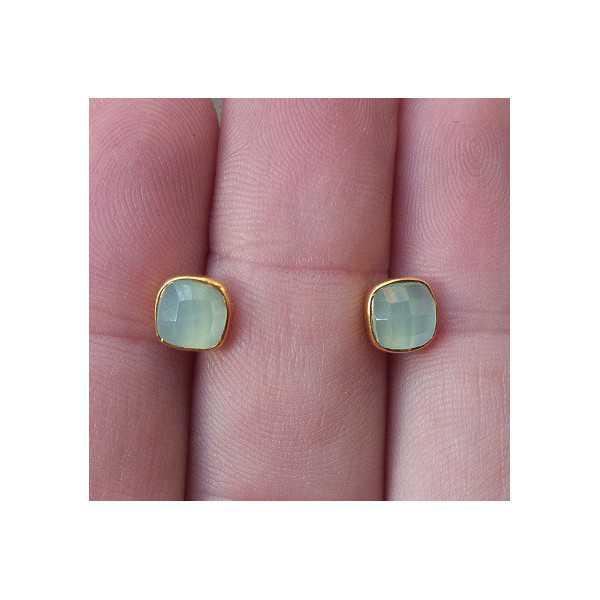 Vergoldete oorknoppen-set mit Aqua Chalcedon