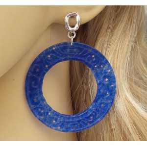Silber Ohrringe mit große round-cut blue Jade