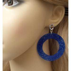Ohrringe, große Runde-cut blue Jade