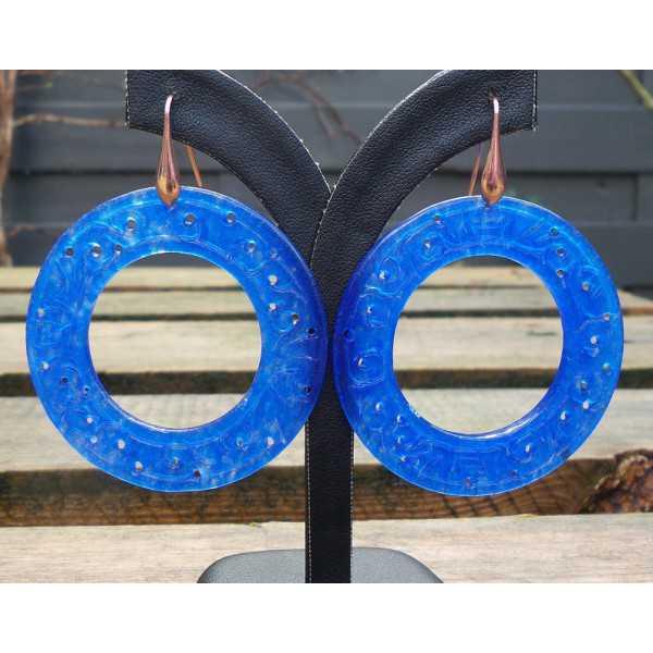 Vergoldete Ohrringe mit großen, Runden-cut blue Jade