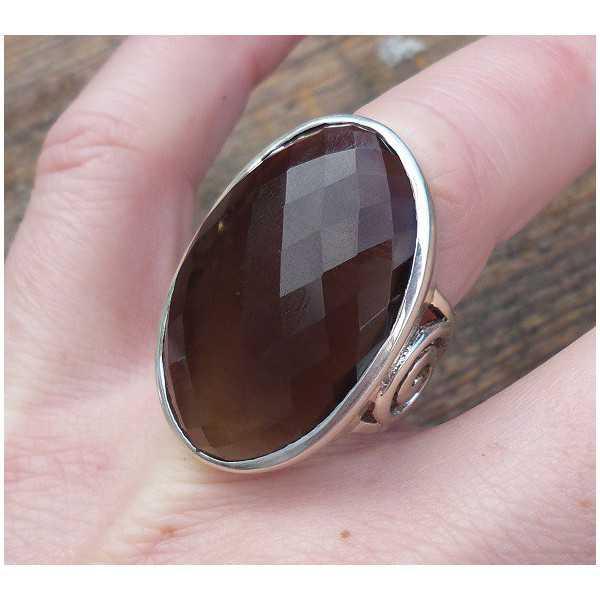 Silber ring mit großem ovalen facettierten Smokey Topaz 17 mm