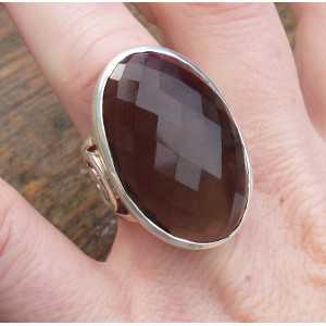 Silver ring with large oval faceted Smokey Topaz 17 mm
