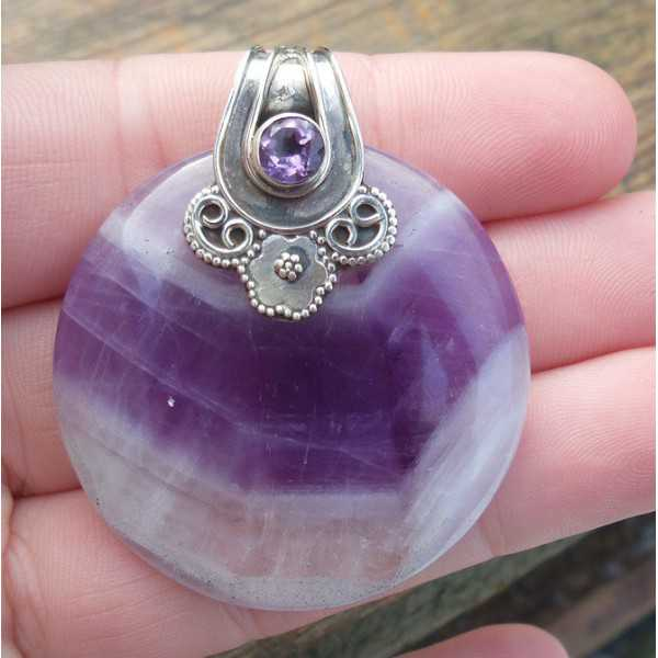 Silver pendant set with round Chevron Amethyst and Amethyst