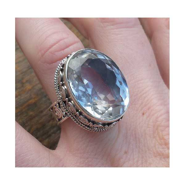 Silver ring with white Topaz set in a carved setting 17.3 mm