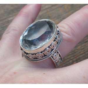 Silber ring mit weißem Topas set in einem geschnitzten Einstellung 17.3 mm