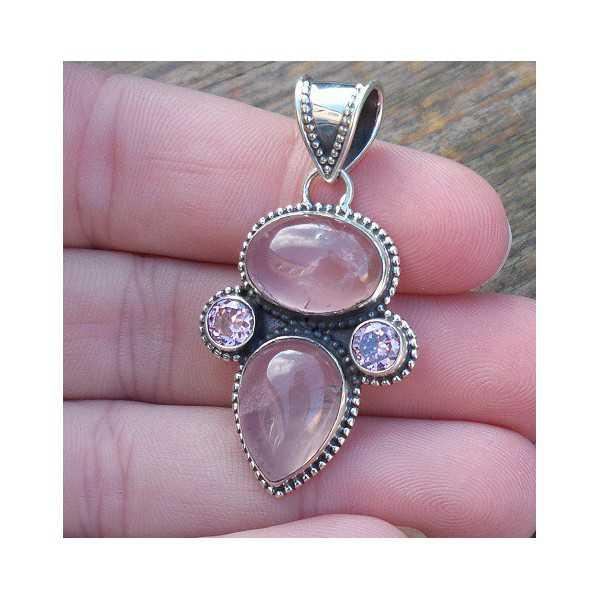 Silver pendant set with rose quartz and pink Quartz