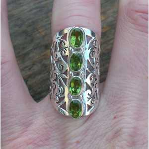 Silver ring with Peridot and open carved ring band 17 mm