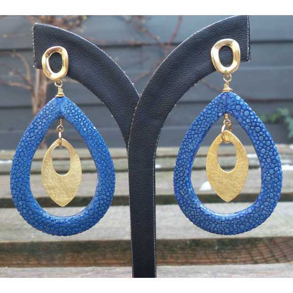 Vergoldete Ohrringe mit offenem Tropfen blau Roggenleer