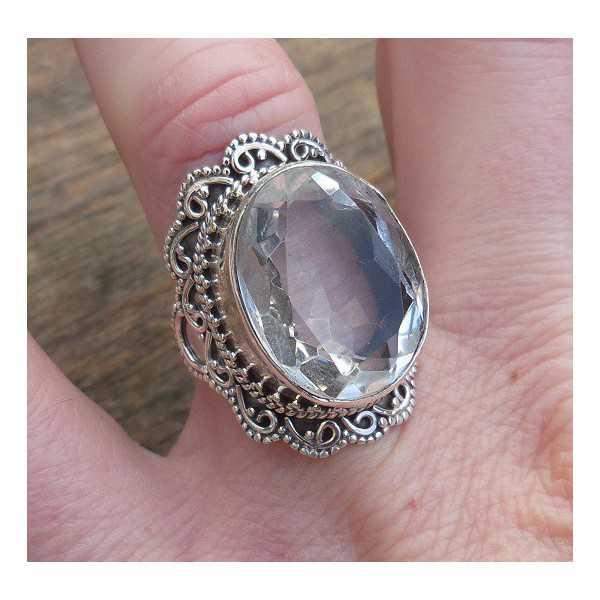 Silber ring-set mit weißem Topas und gestaltete Kopf 17 mm