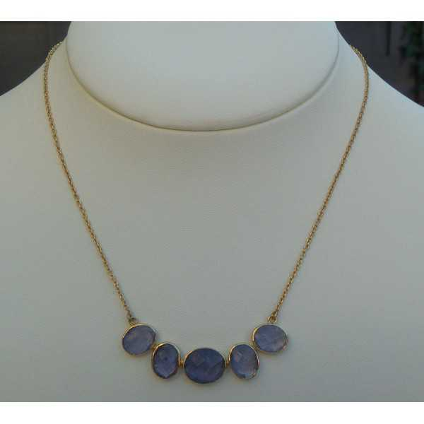 Gold plated necklace with pendant set with Ioliet