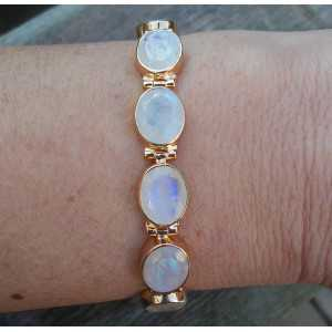 Gold plated bracelet set with oval faceted Moonstones