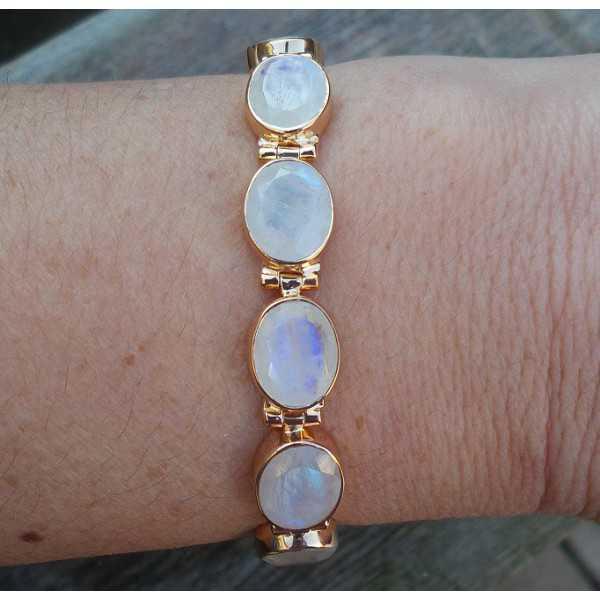 Gold überzog Armband-set mit einem ovalen facettierten Mondsteine