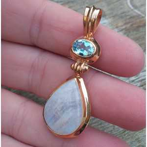 Gold-plated pendant set with Moonstone and blue Topaz