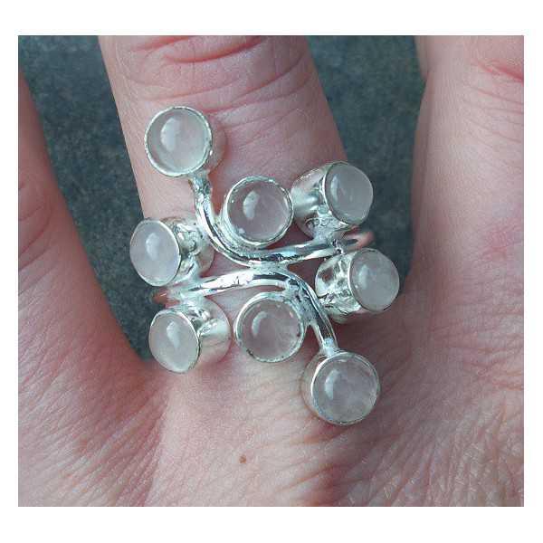 Silver ring set with cabochon rose quartz stones 19 mm